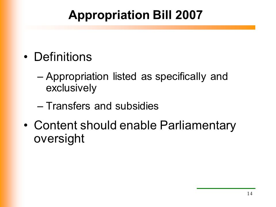 Content should enable Parliamentary oversight