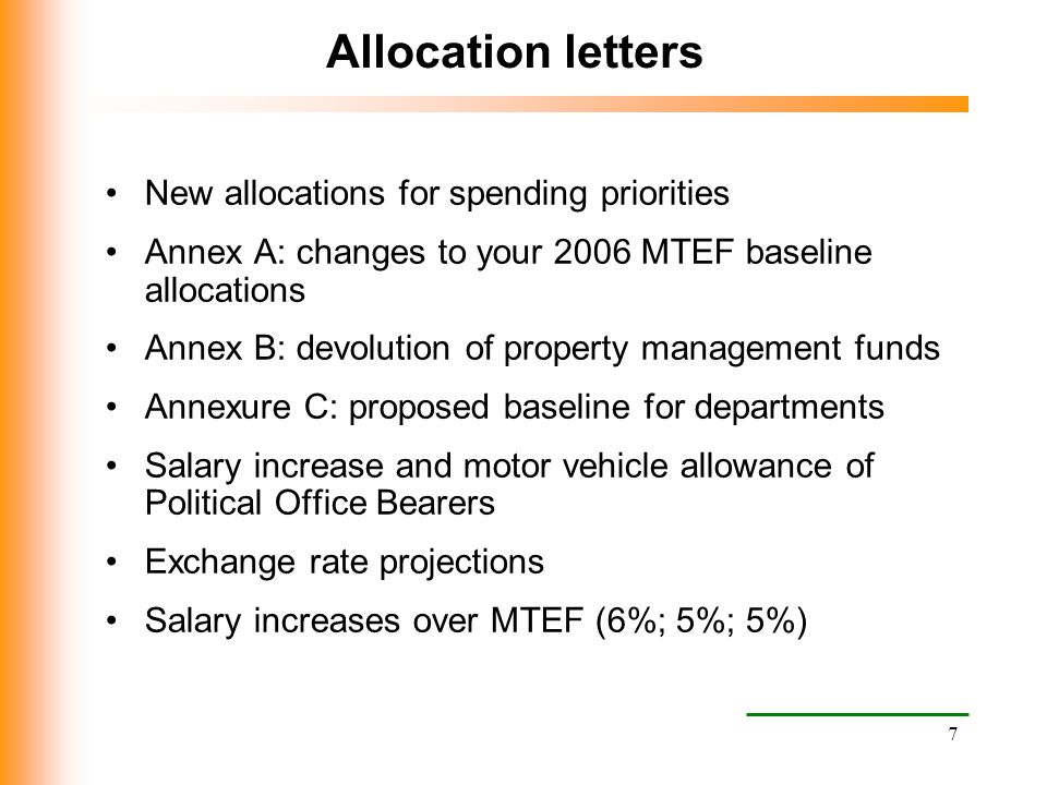 Allocation letters New allocations for spending priorities