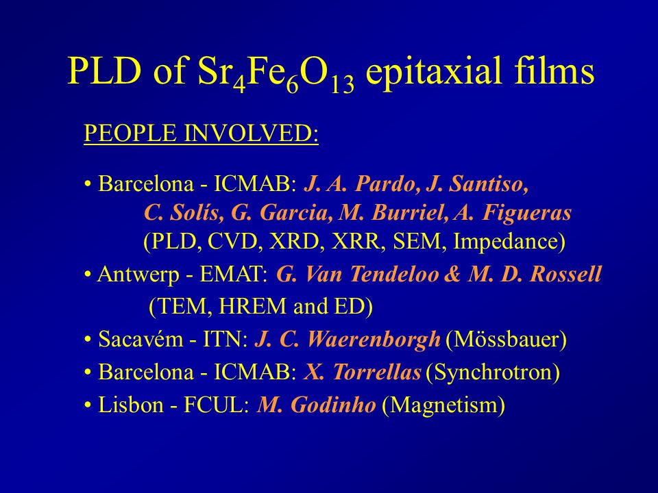 PLD of Sr4Fe6O13 epitaxial films