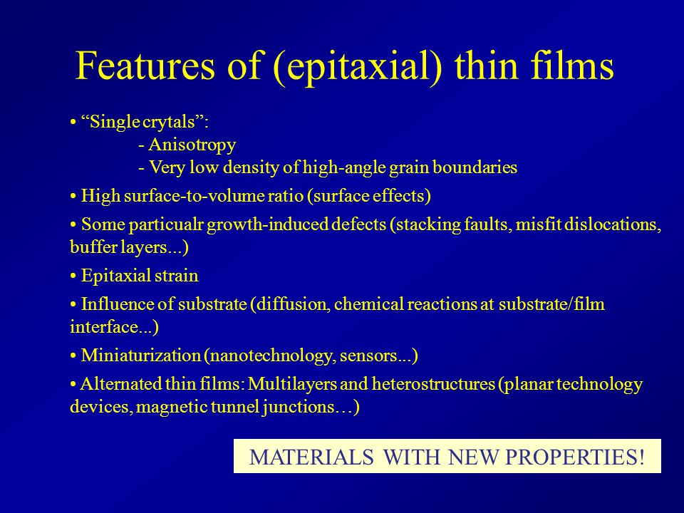 Features of (epitaxial) thin films