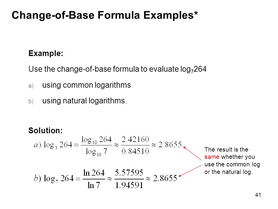 Change-of-Base Formula Examples*