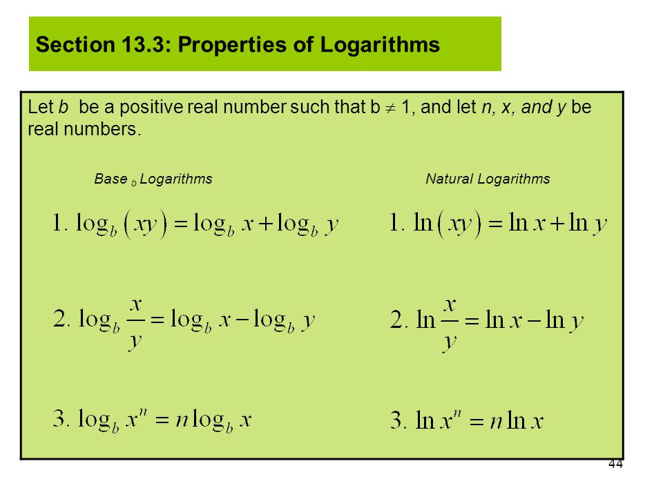 Section 13.3: Properties of Logarithms