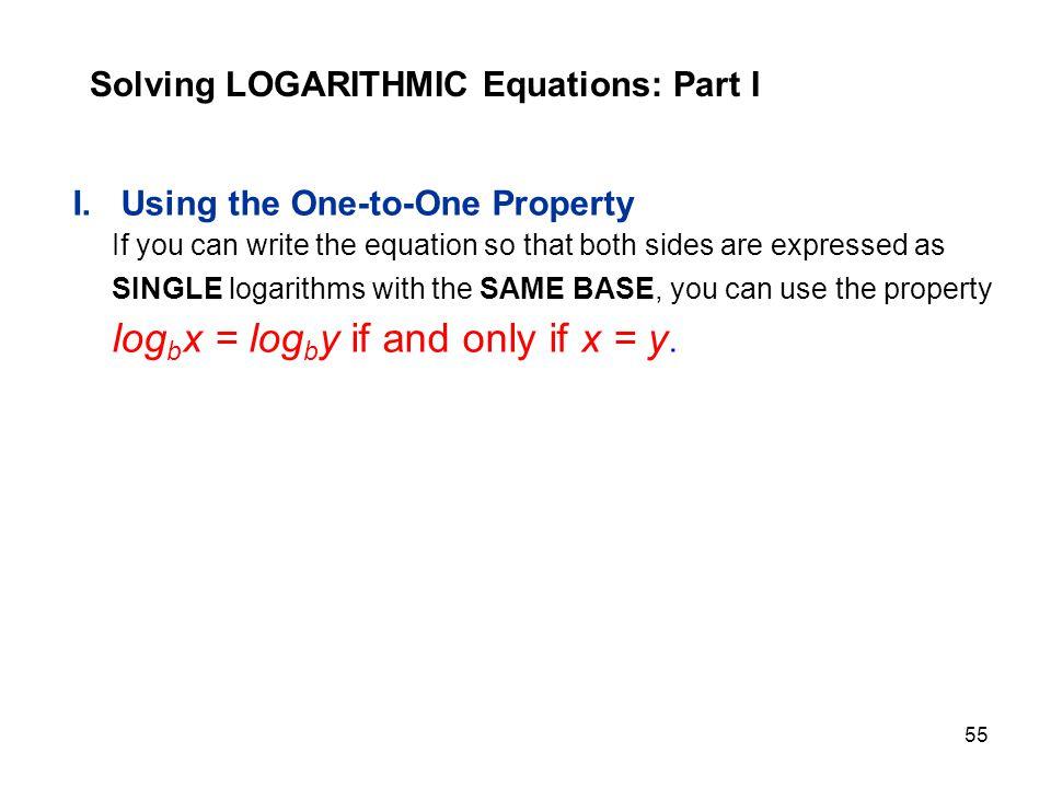 Solving LOGARITHMIC Equations: Part I