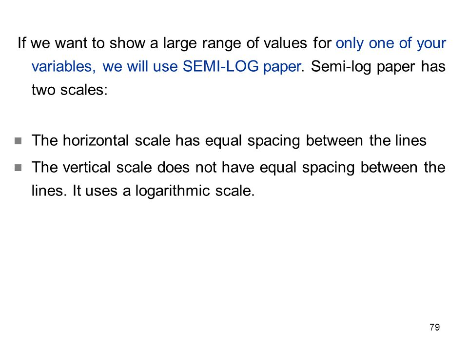 The horizontal scale has equal spacing between the lines