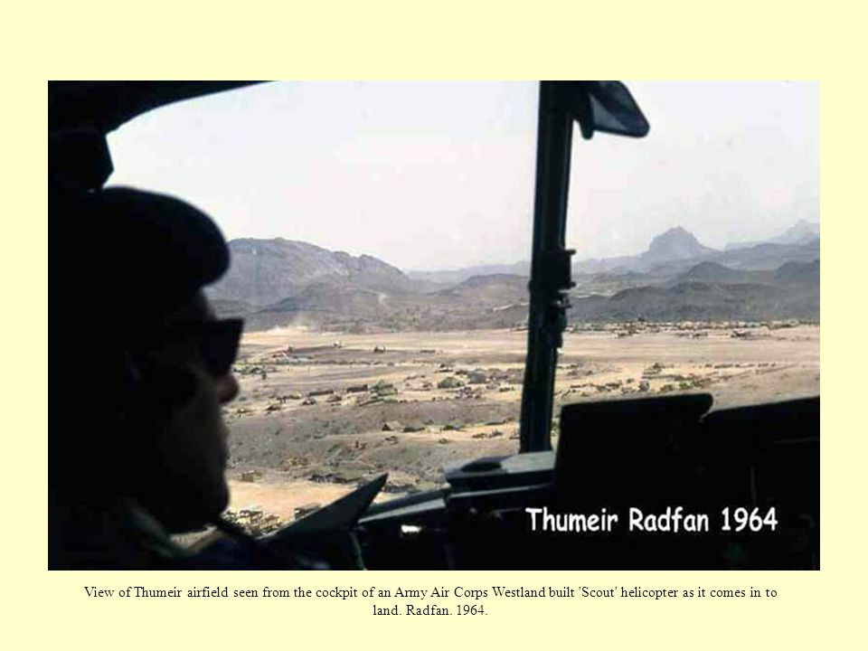 View of Thumeir airfield seen from the cockpit of an Army Air Corps Westland built Scout helicopter as it comes in to land.