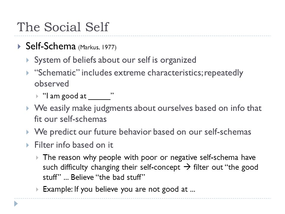 The Social Self Self-Schema (Markus, 1977)