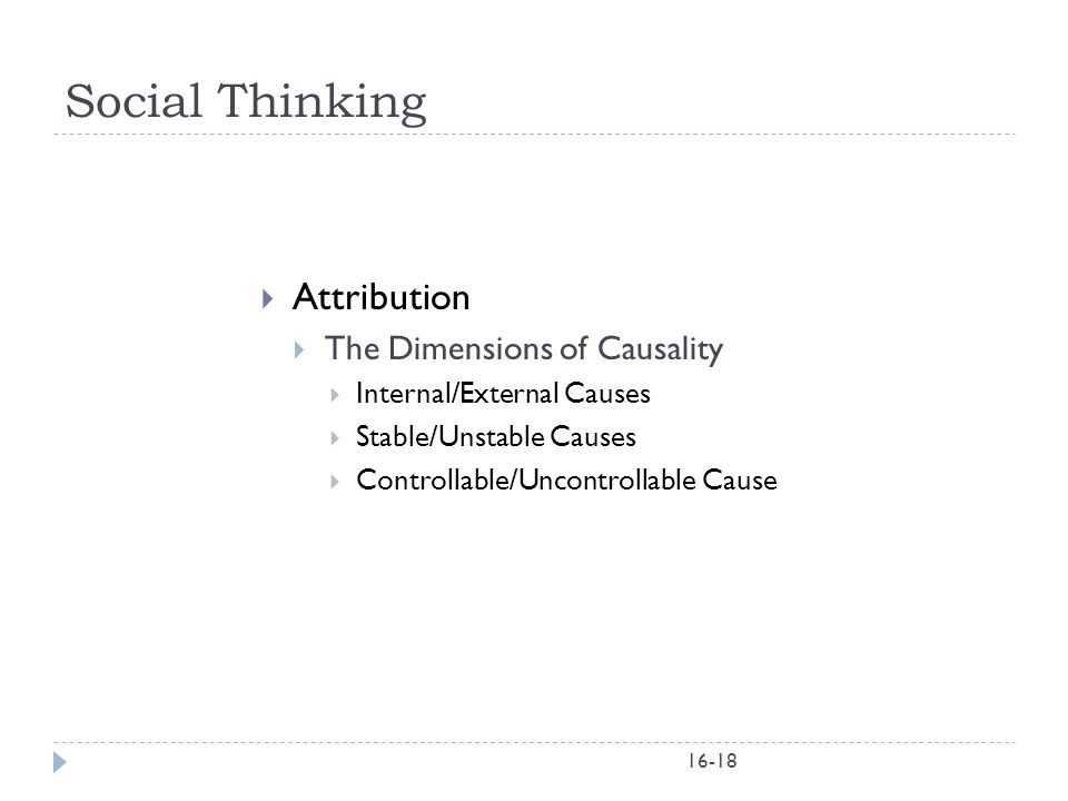 Social Thinking Attribution The Dimensions of Causality