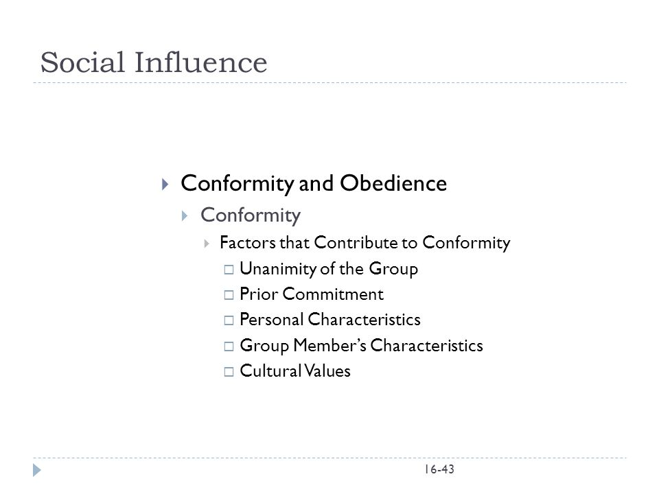 Social Influence Conformity and Obedience Conformity