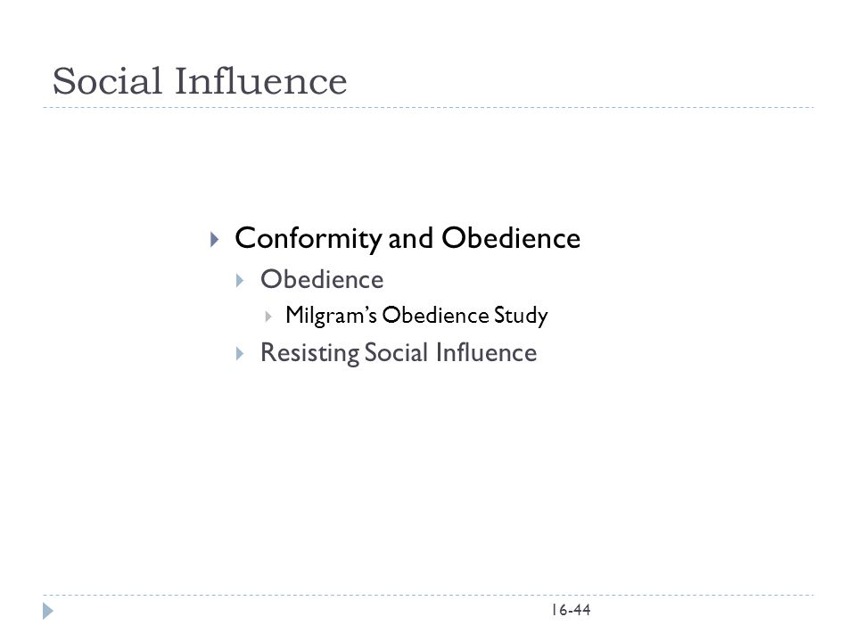 Social Influence Conformity and Obedience Obedience