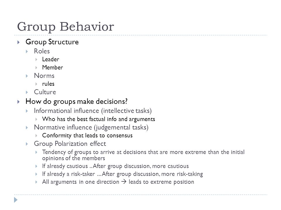 Group Behavior Group Structure How do groups make decisions Roles