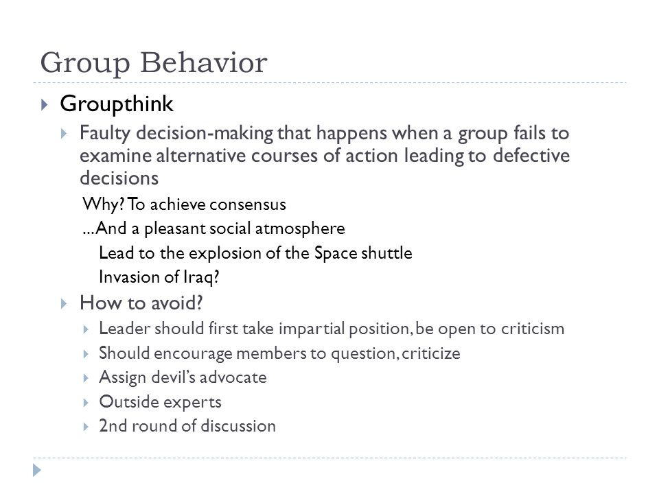 Group Behavior Groupthink