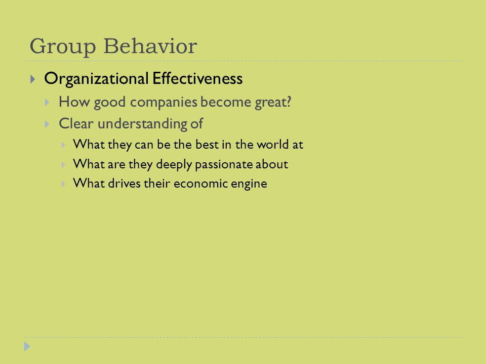 Group Behavior Organizational Effectiveness