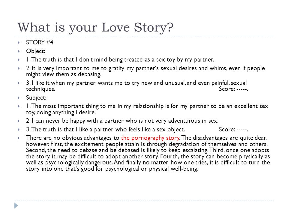 What is your Love Story STORY #4 Object: