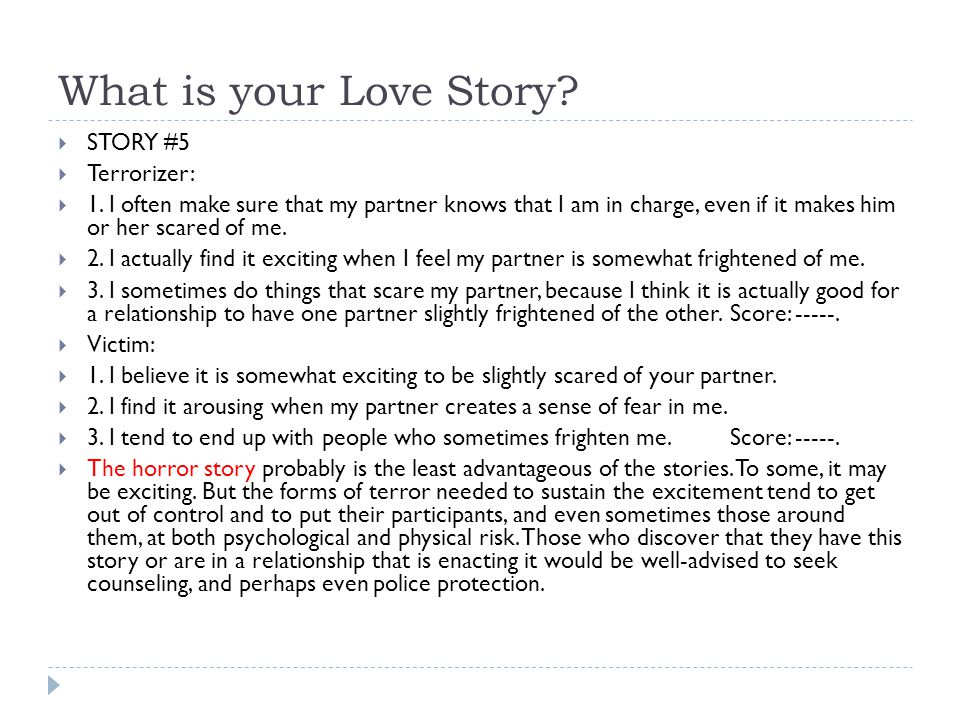 What is your Love Story STORY #5 Terrorizer:
