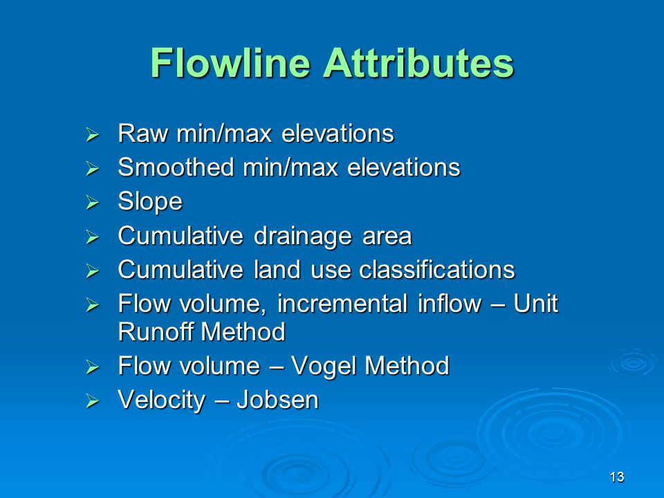 Flowline Attributes Raw min/max elevations Smoothed min/max elevations