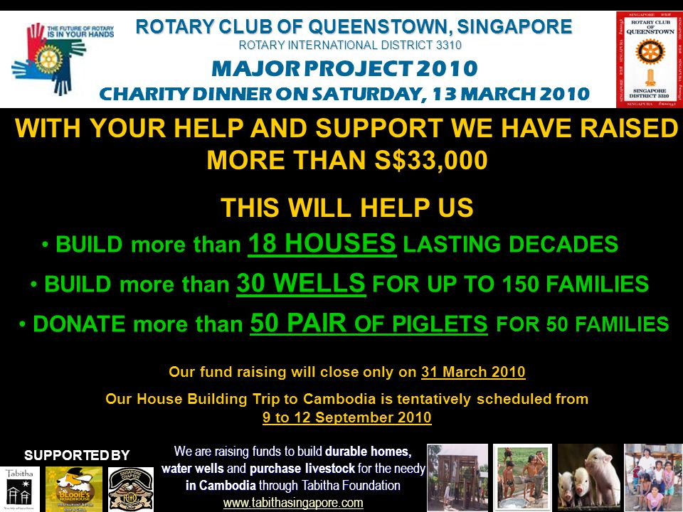 WITH YOUR HELP AND SUPPORT WE HAVE RAISED MORE THAN S$33,000