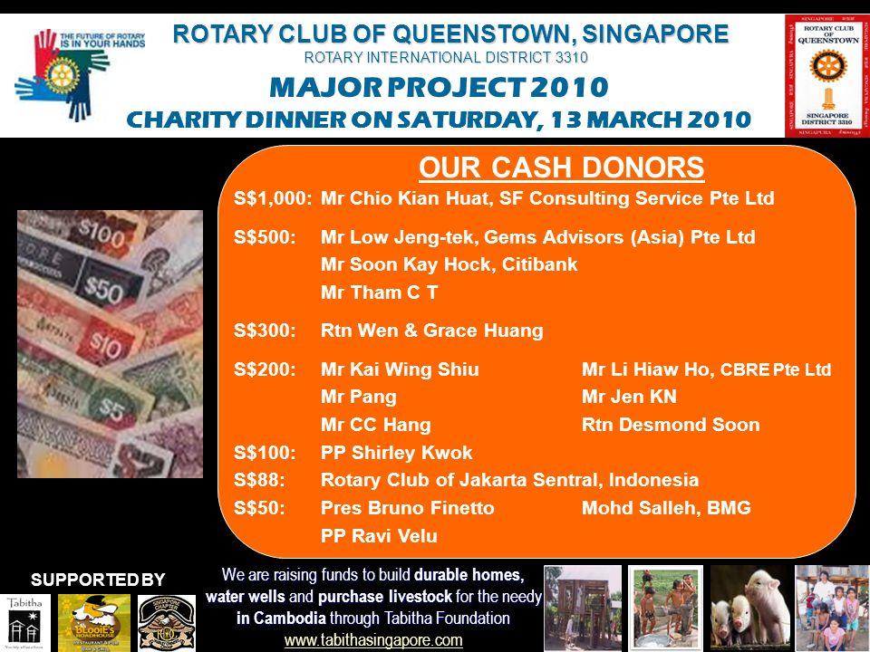 OUR CASH DONORS S$1,000: Mr Chio Kian Huat, SF Consulting Service Pte Ltd. S$500: Mr Low Jeng-tek, Gems Advisors (Asia) Pte Ltd.