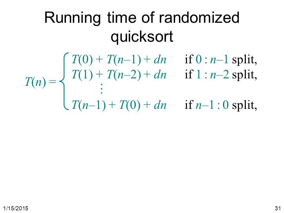 Running time of randomized quicksort