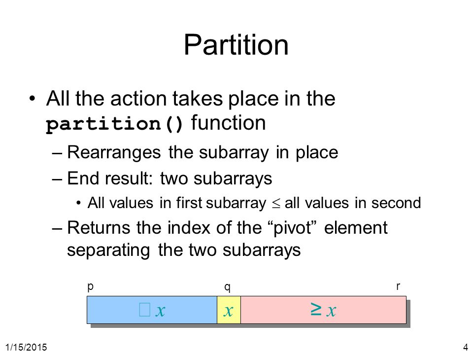 Partition All the action takes place in the partition() function £ x x