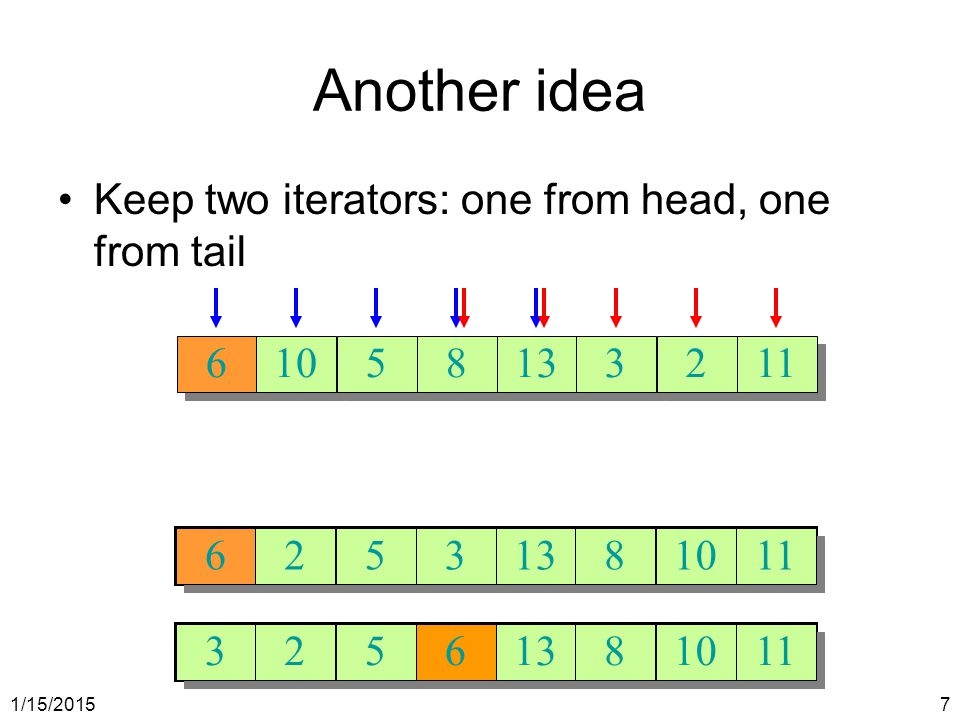 Another idea Keep two iterators: one from head, one from tail 6 10 5 8