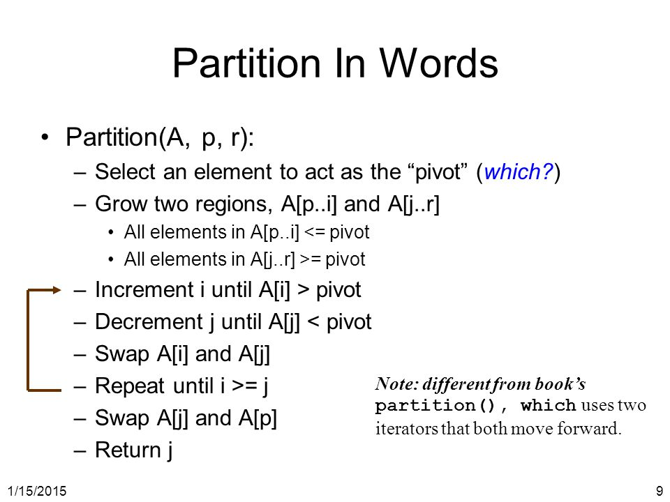 Partition In Words Partition(A, p, r):