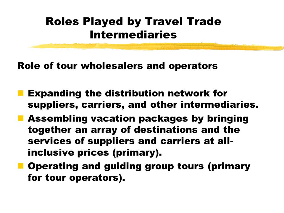 Roles Played by Travel Trade Intermediaries
