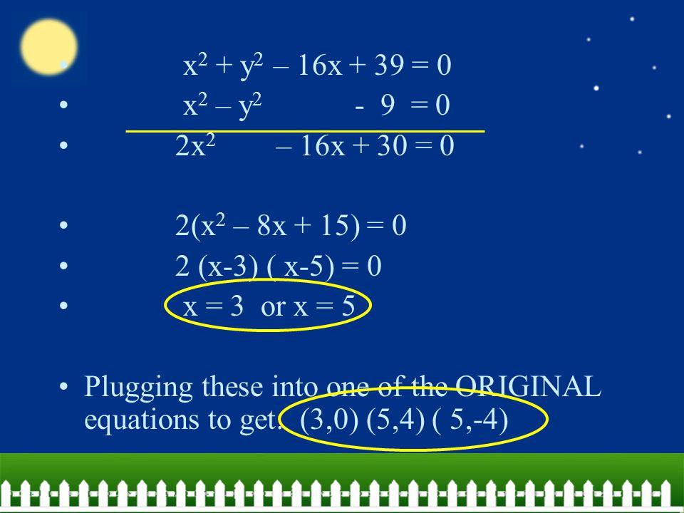 x2 + y2 – 16x + 39 = 0 x2 – y2 - 9 = 0. 2x2 – 16x + 30 = 0. 2(x2 – 8x + 15) = 0.