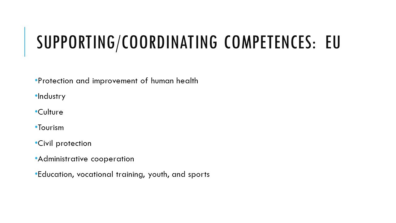 Supporting/coordinating competences: EU