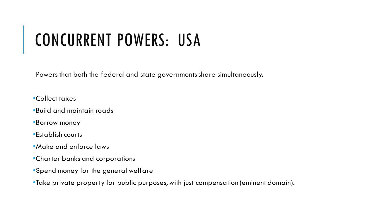 Concurrent powers: USA
