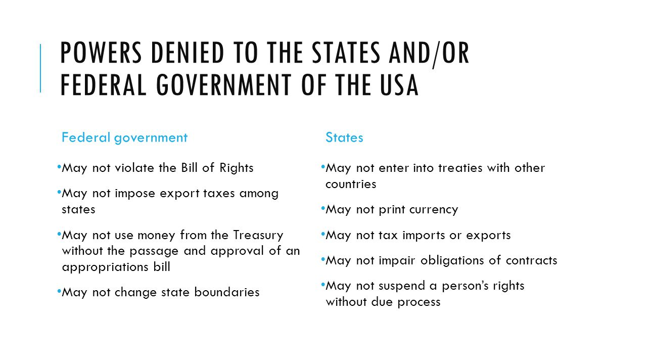 Powers denied to the states and/or federal government of the USA
