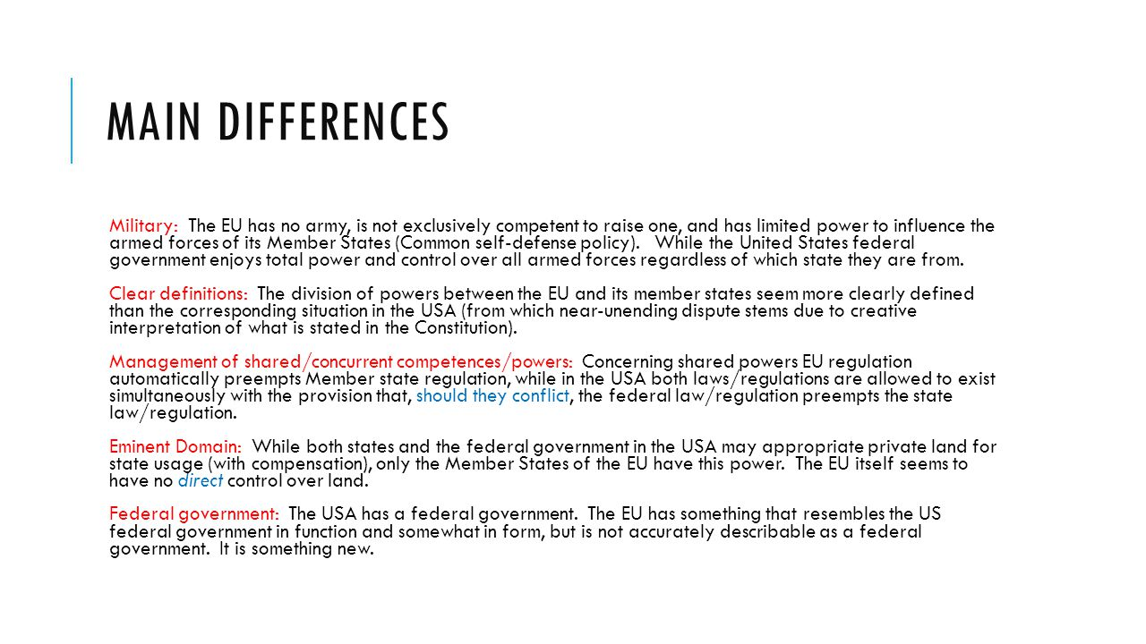 Main differences