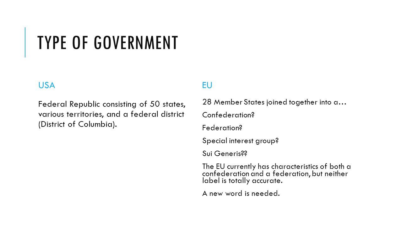 Type of government USA EU