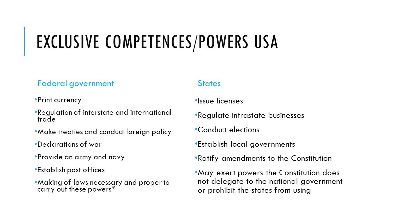 Exclusive competences/powers USA