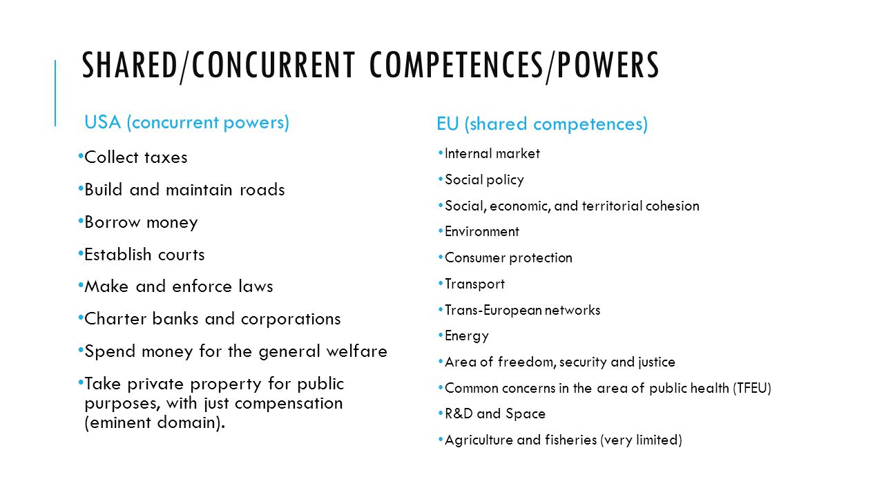 Shared/concurrent Competences/Powers