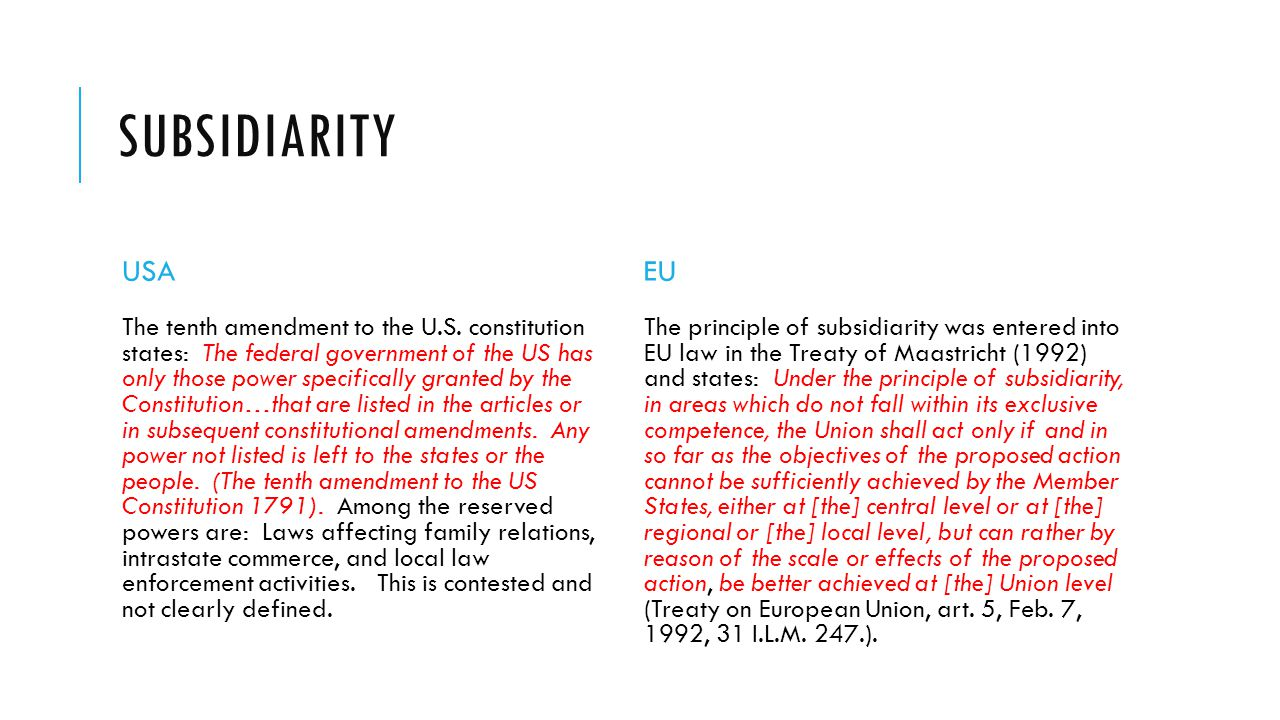 Subsidiarity under eu law study