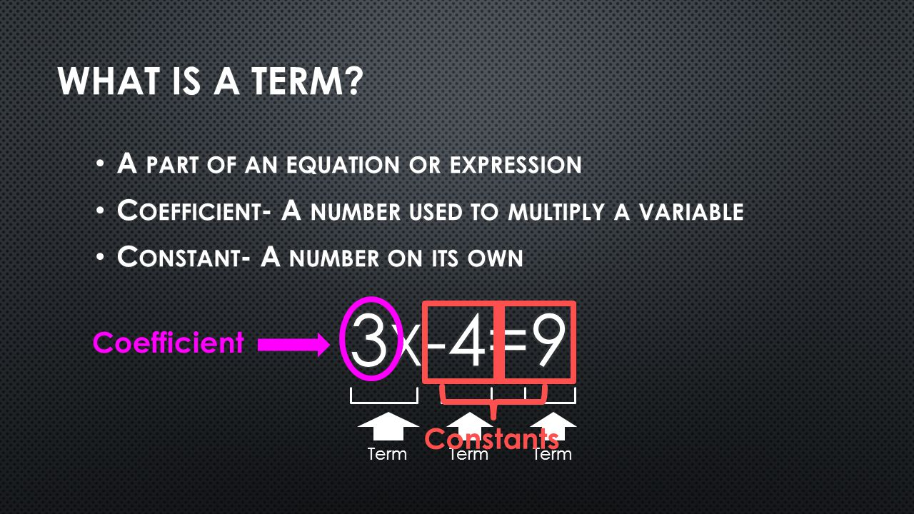 3x-4=9 What is a term A part of an equation or expression