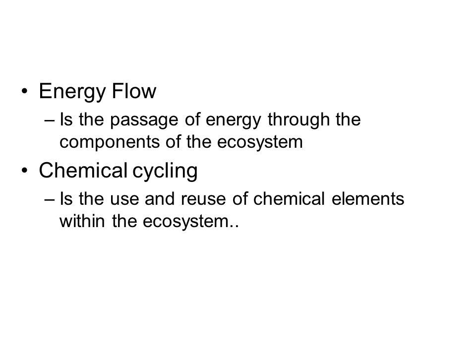 Energy Flow Chemical cycling