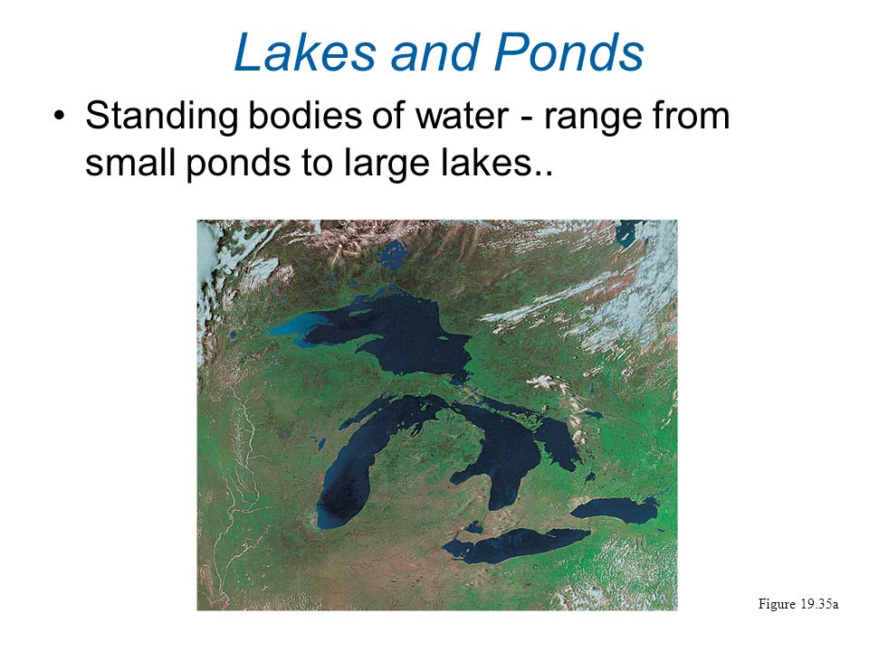 Lakes and Ponds Standing bodies of water - range from small ponds to large lakes.. Figure 19.35a