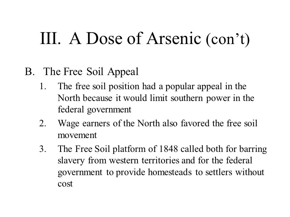 III. A Dose of Arsenic (con't)