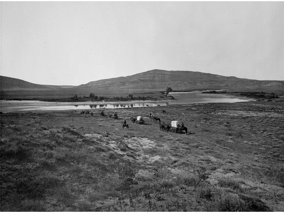fig13_03.jpg Page 460: A rare photograph of wagons on their way to Oregon during the 1840s.
