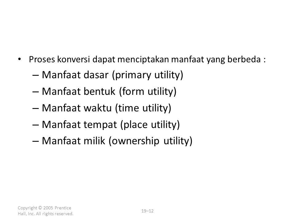 Manfaat dasar (primary utility) Manfaat bentuk (form utility)