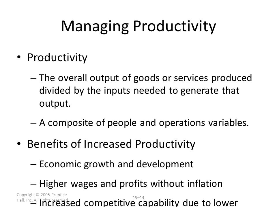 Managing Productivity