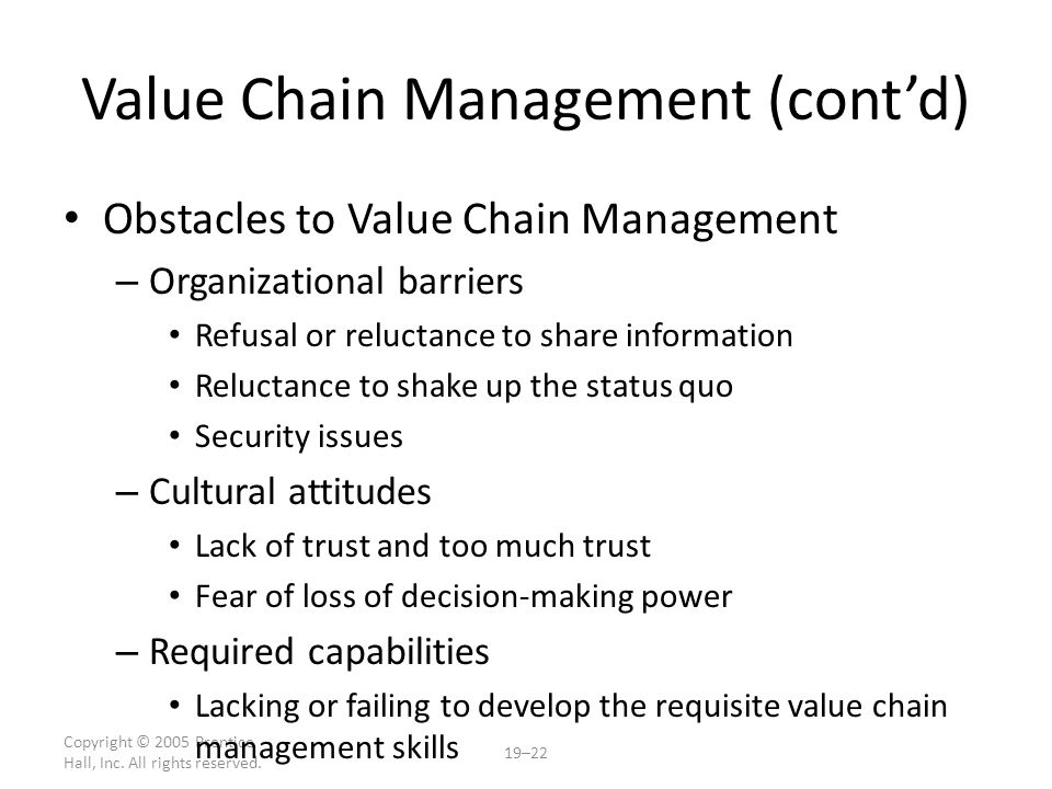 Value Chain Management (cont'd)