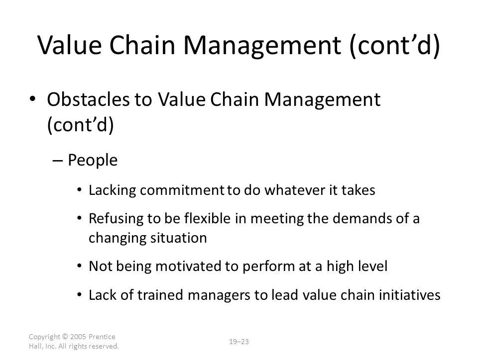 Value Chain Management (cont'd)