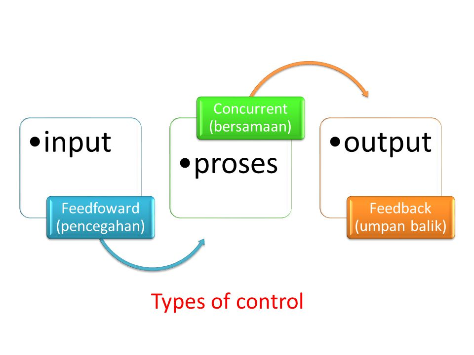 Types of control Feedfoward (pencegahan) input Concurrent (bersamaan)