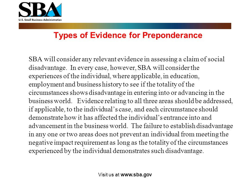 Types of Evidence for Preponderance