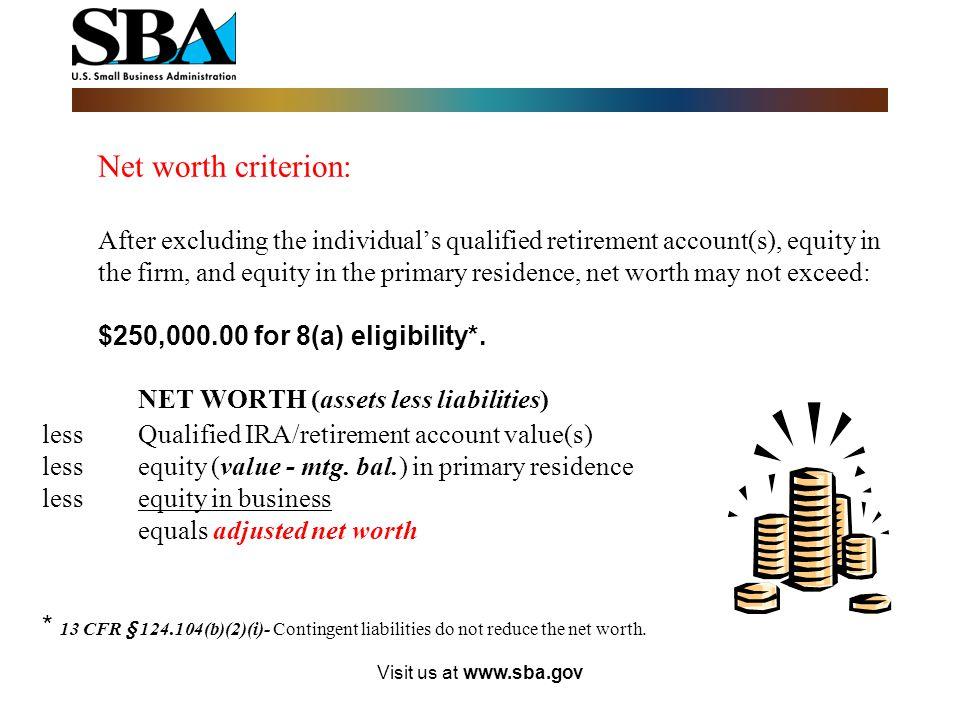 NET WORTH (assets less liabilities)