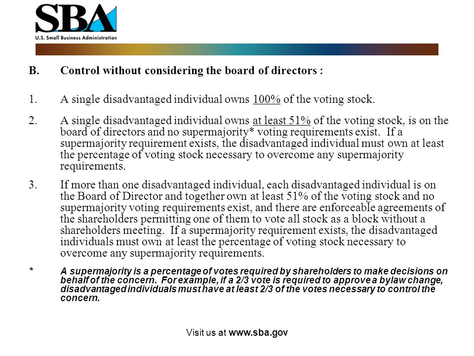 B. Control without considering the board of directors :