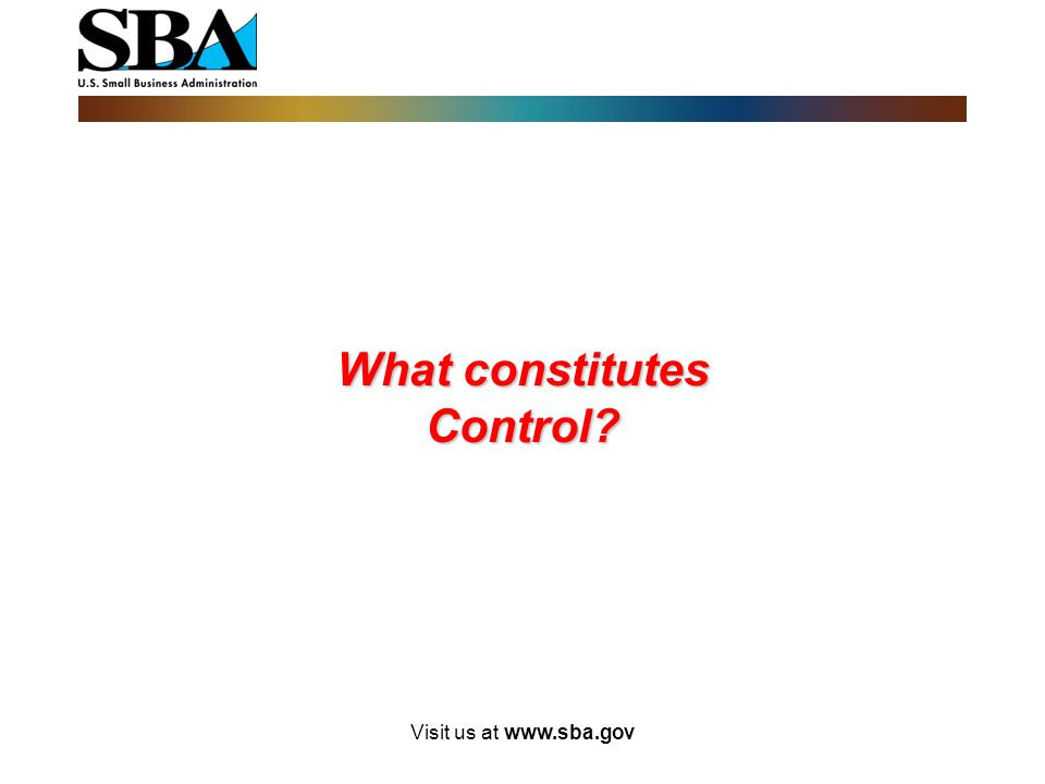 What constitutes Control