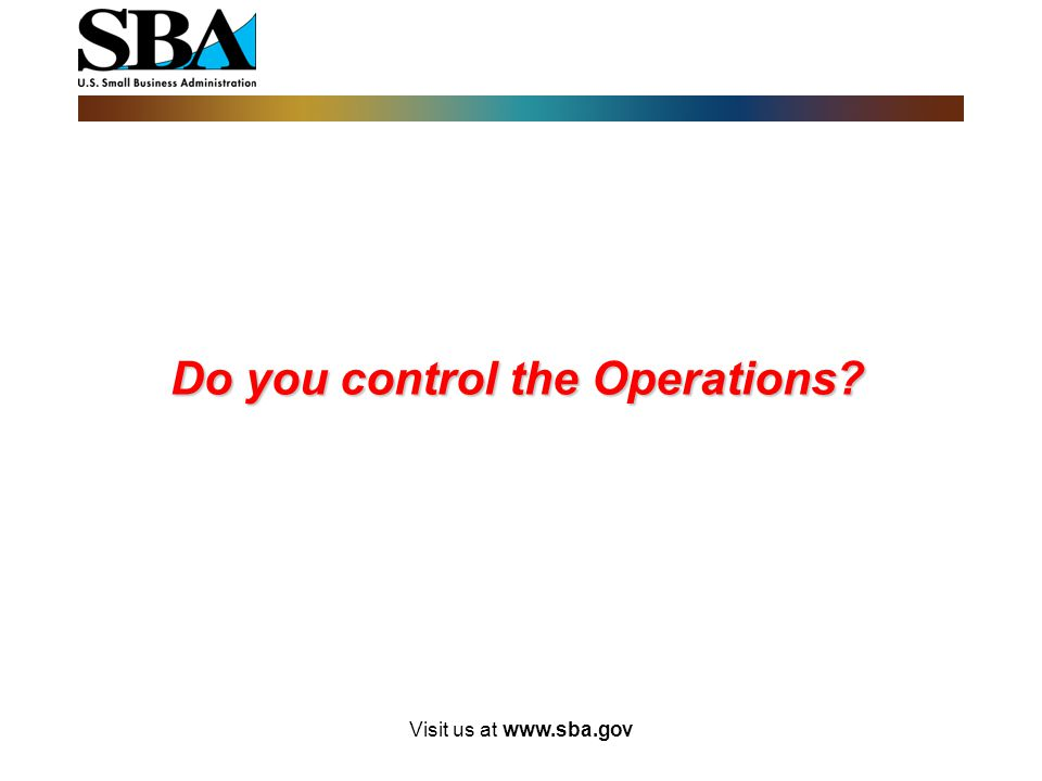 Do you control the Operations